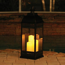 "San Nicola Triple LED Candle Lantern, Bronze - 28.25"" Tall"