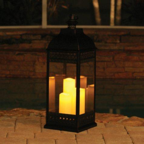 "San Nicola Triple LED Candle Lantern, Bronze - 28.25"" Tall"