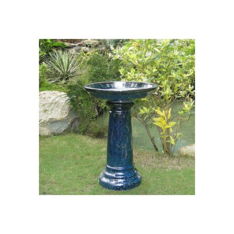 Aviatra Ceramic Birdbath - Blue Midnight