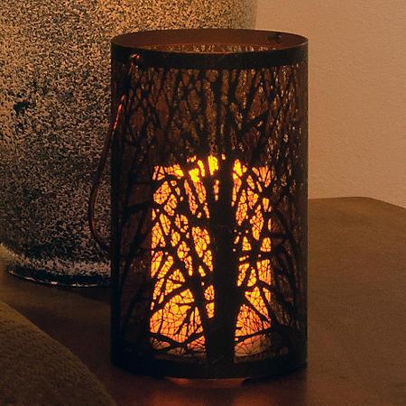 Arboretum Metal Cylinder Lantern, Antique Black Finish