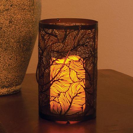 Panama Metal Cylinder Lantern, Antique Black Finish
