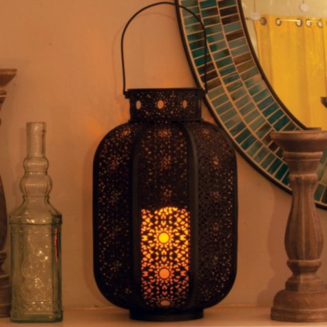 Cadiz Metal Cylinder Candle Lantern, Weathered Brown Finish