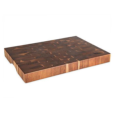 """Viking End-Grain Acacia Wood Cutting Board, 20"""" x 14"""" x 2"""""""