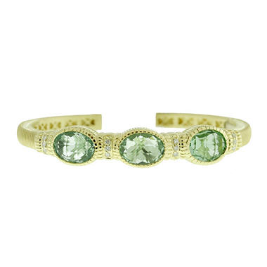 Judith Ripka Green Quartz Three-Stone Bracelet