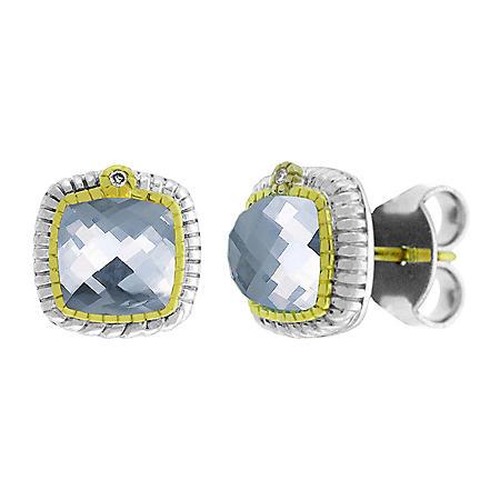 Judith Ripka Sugarloaf Blue Quartz Stone Earrings