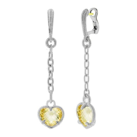 Judith Ripka Canary Crystal Heart Drop Earrings