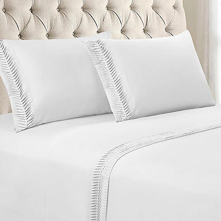 Hudson & Main Wrinkle-Resistant Arrow Pleat Sheet Set (Various Sizes and Colors)