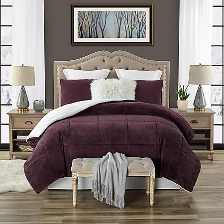 Swift Home Plush Faux Fur 3-piece Reversible Sherpa Comforter Set (Assorted Colors and Sizes)