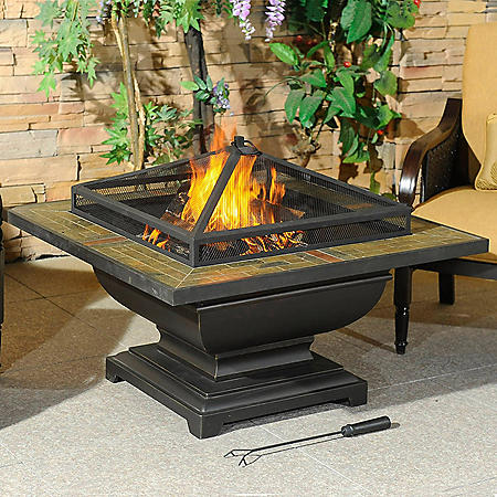Sunjoy Agos Slate Top Square 36 in Fire Pit