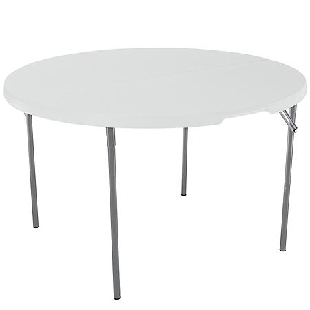 "Lifetime 48"" Fold-in-Half Round Commercial Grade Table, White Granite"