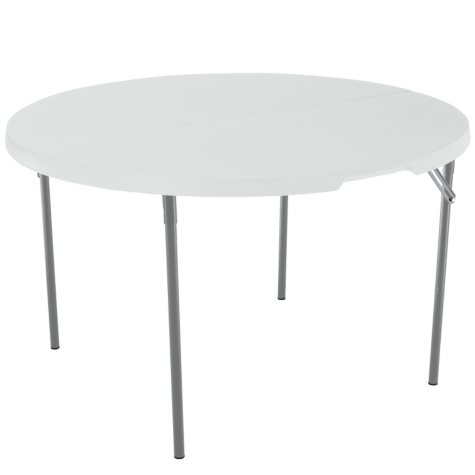 "Lifetime 48"" Fold-in-Half Round Commercial Grade Table, White Granite"