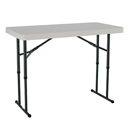 Lifetime 4' Adjustable Commercial Grade Folding Table, Almond
