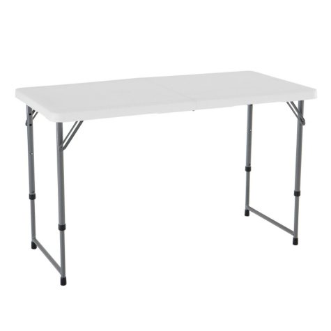 Lifetime 4' Fold-in-Half Adjustable Light Commercial Grade Table, White Granite