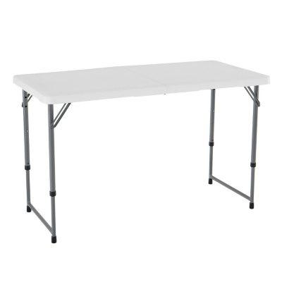 Lifetime 4u0027 Fold In Half Adjustable Light Commercial Grade Table, White  Granite
