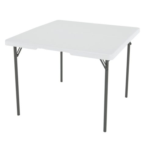 "Lifetime 37"" Commercial Grade Fold-In-Half Card Table, White Granite"