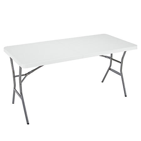 Lifetime 5' Fold-In-Half Light Commercial Grade Table, White Granite