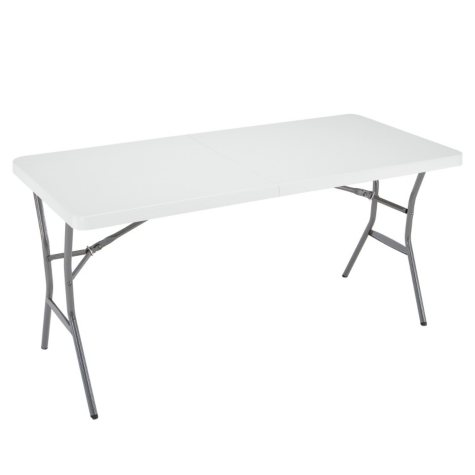 Lifetime 5' Fold-In-Half Light Commercial Grade Table, White Granite
