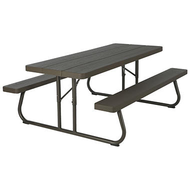 lifetime 6foot brown picnic table