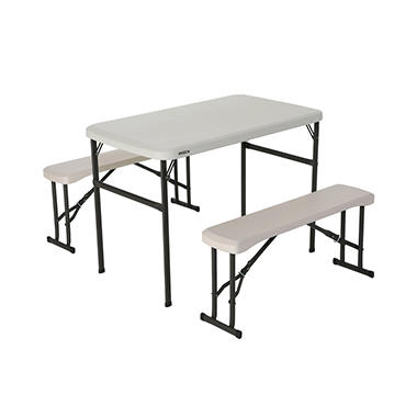 Lifetime Picnic Table With Benches Set Almond Sam S Club