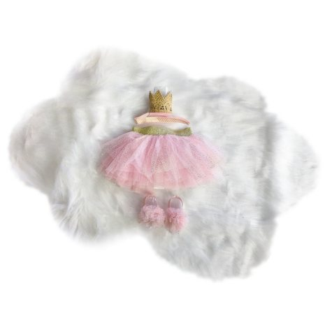 Toby 4-Piece Tutu Dress-Up Box Set, Pink and Gold