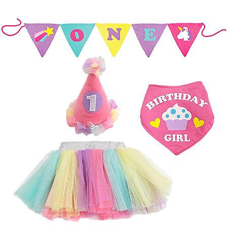 Toby 4-Piece Birthday Dress-Up Set, Unicorn
