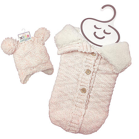 NYGB Chunky Pom-Pom Hat and Snuggle Sack, Light Pink