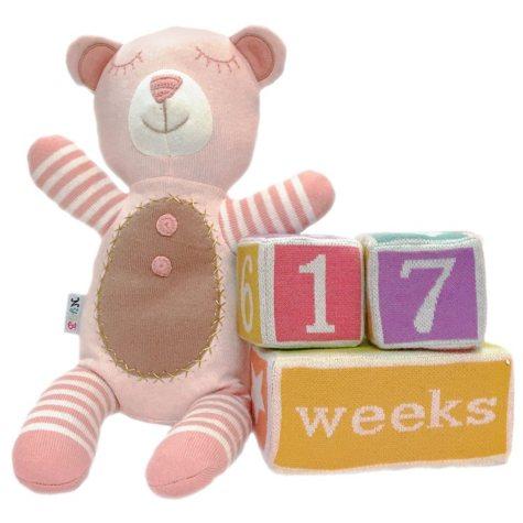 NYGB Knit Bear Plush and Milestone Blocks, Peachy