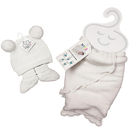 NYGB First and Forever Wrap, Pom-Pom Hat and Booties Newborn Set, Ivory