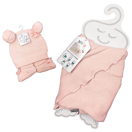 NYGB First and Forever Wrap, Pom-Pom Hat and Booties Newborn Set, Pink