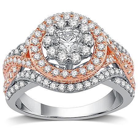 1.62 CT. T.W. Diamond Ring in 14K White & Rose Gold
