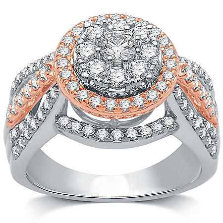 1.50 CT. T.W. Diamond Engagement Ring in 14K White & Rose Gold