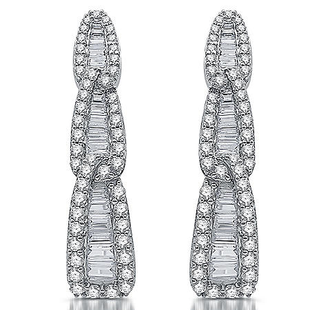 2.00 CT. T.W. Diamond Hoop Earring in 14K White Gold