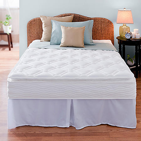 """Night Therapy iCoil 10"""" Pillowtop Spring Mattress and SmartBase Bed Frame Set, Queen"""
