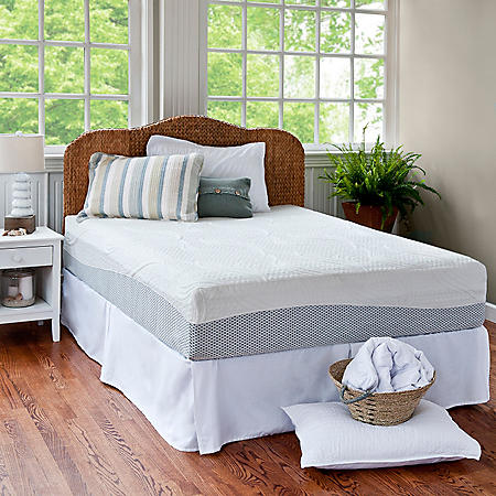 """Night Therapy 12"""" Pressure Relief Memory Foam Full Mattress and Bed Frame Set"""