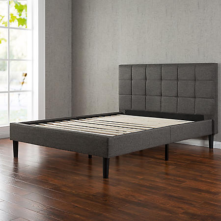 Square-Stitched Upholstery Platform Bed (Assorted Sizes)