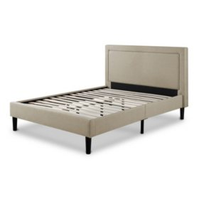 Taupe Upholstery Platform Bed (Assorted Sizes)