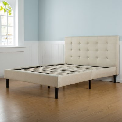 Taupe Tufted Upholstery Platform Bed Assorted Sizes Sams Club