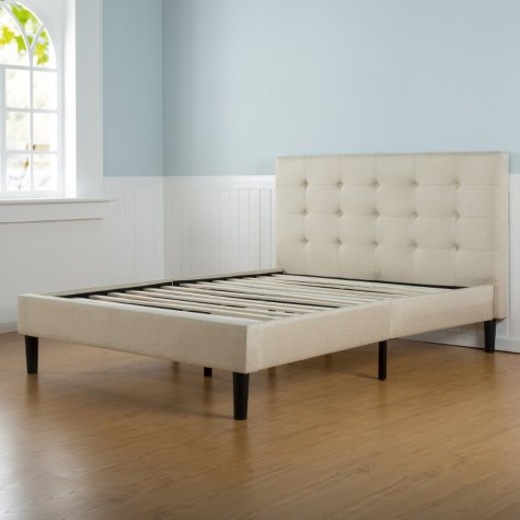 Taupe Tufted Upholstery Platform Bed (Assorted Sizes)
