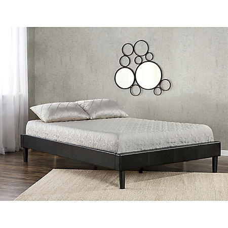 Night Therapy Essential Faux Leather Platform Bed without Head Board (Assorted Sizes)