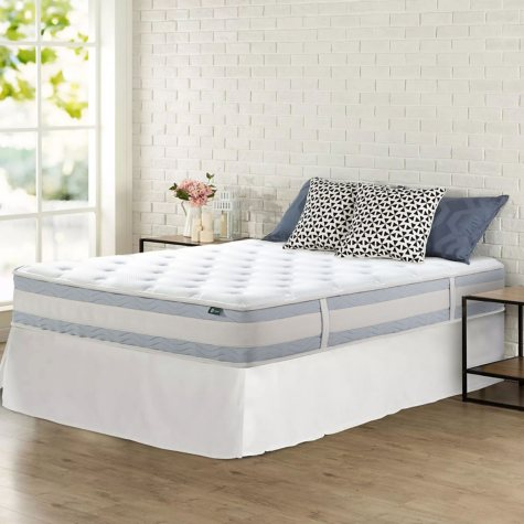 "Zinus Night Therapy Set Spring 10"" Fusion Gel Memory Foam Hybrid Queen Mattress and SmartBase Bed Frame"