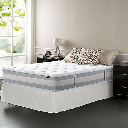 """Zinus Night Therapy Set Spring 12"""" Fusion Gel Memory Foam Hybrid Queen Mattress and SmartBase Bed Frame"""