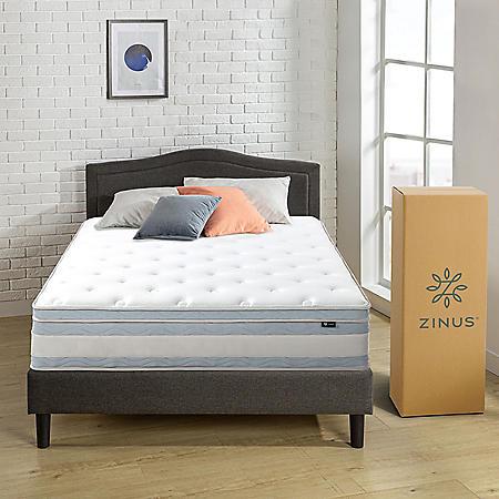 "Zinus Night Therapy Set Spring 12"" Fusion Gel Memory Foam Hybrid Full Mattress and BiFold Box Spring"