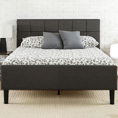 Night Therapy Upholstered Platform Bed with Footboard, Dark Gray (Assorted Sizes)