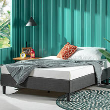 Night Therapy Essential Upholstered Platform Bed, Gray (Assorted Sizes)