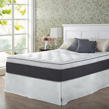 "Night Therapy Positive Sleep 13.5"" ADAPTIVE Euro Boxtop Spring Queen Mattress and SmartBase Platform Bed Frame Set"