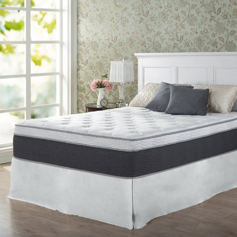 """Zinus Night Therapy 13.5"""" ADAPTIVE Spring Queen Mattress and SmartBase Platform Bed Frame Set"""