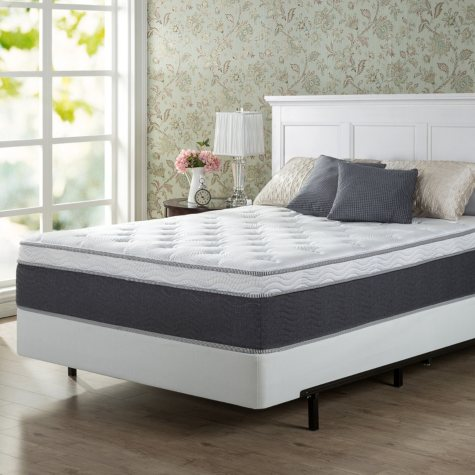 """Zinus Night Therapy 13.5"""" ADAPTIVE Spring Queen Mattress and BiFold Box Spring Set"""