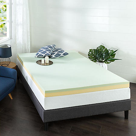 "Zinus Night Therapy 4"" Green Tea Memory Foam Twin Mattress Topper"
