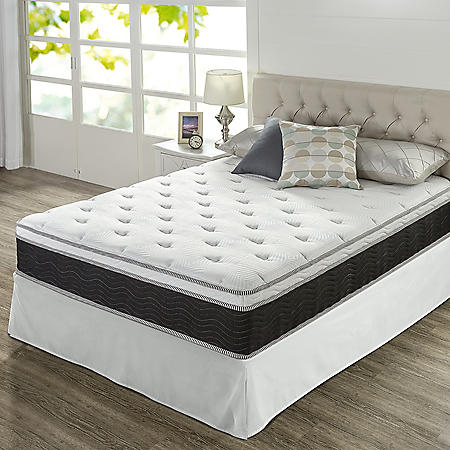 "Zinus Night Therapy 12"" iCoil Premium Support Queen Mattress and SmartBase Set"