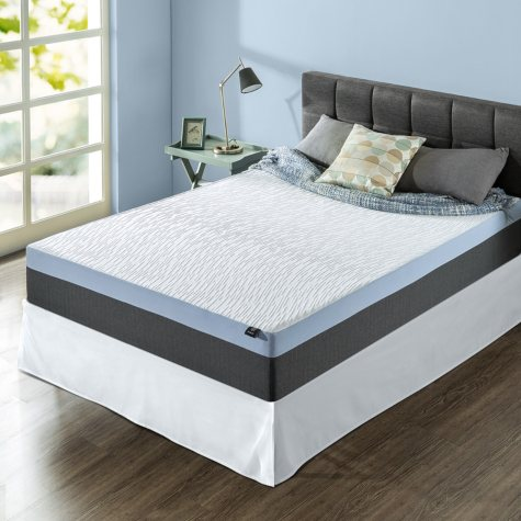"Zinus Night Therapy Gel-Infused Memory Foam 12"" Elite King Mattress & Bed Frame Set"